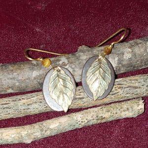 copper earrings w/leaf design